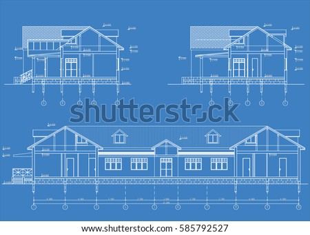 Authors architectural project country hotel blueprint stock vector the authors architectural project of the country hotel the blueprint of cross section malvernweather Image collections
