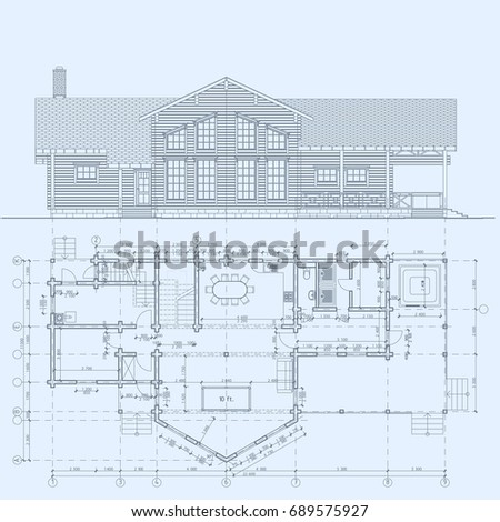 Authors architectural project wooden building glued stock vector the authors architectural project of the wooden building from glued beams plane facade malvernweather Gallery
