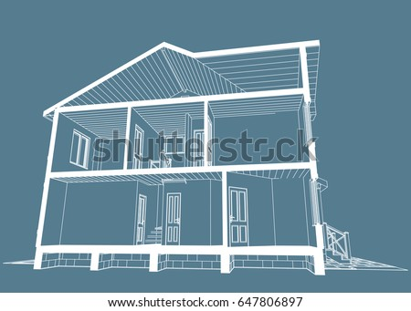 Authors project blueprint architectural design brick stock vector the authors project blueprint of architectural design of brick residential house with the terrace malvernweather Image collections