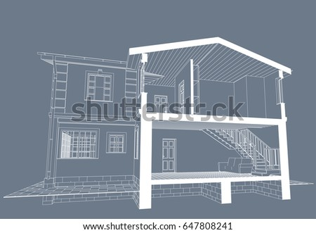 Authors project blueprint architectural design brick stock vector hd the authors project blueprint of architectural design of brick residential house with the terrace malvernweather Image collections