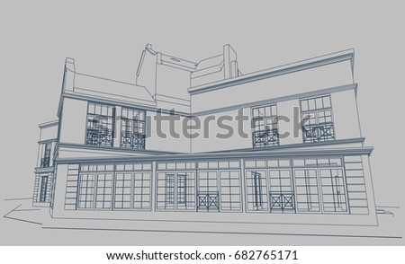 Authors project private residential country house stock vector 2018 the authors project of a private residential country house in post modern style blueprint malvernweather Image collections