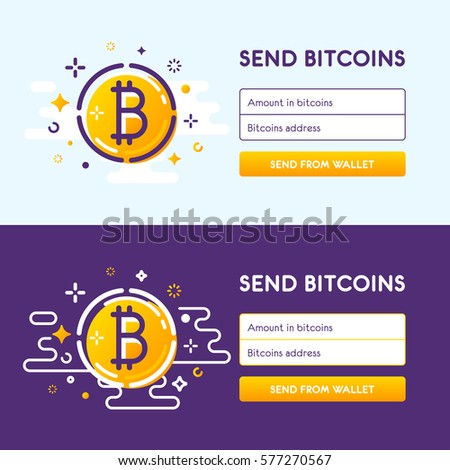 The Authorization Web Form For Bitcoin Exchange Sent Bitcoins Line Trendy Design Vector