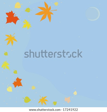 The autumn sky with the moon and falling leaves