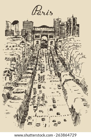 The Avenue des Champs-Elysees (Paris), hand drawn vector illustration, sketch - stock vector
