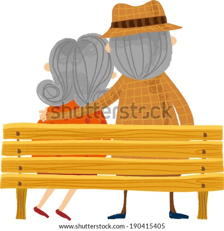 The back view of old couple on the bench  - stock vector