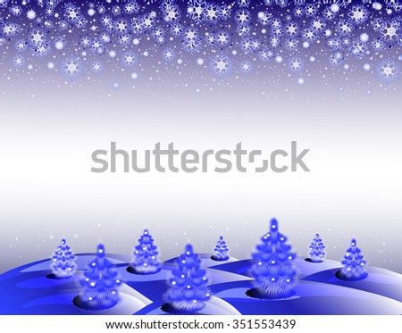 The background: winter landscape with Christmas trees and snowflakes. EPS10 vector illustration. - stock vector