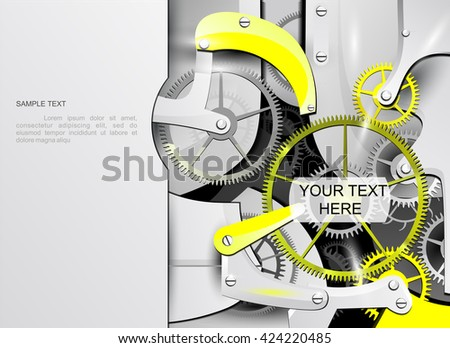 The background with clockwork. The mechanical background with clock. - stock vector