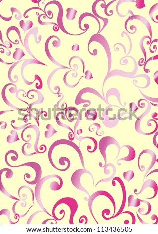 The background with decorative pattern and hearts