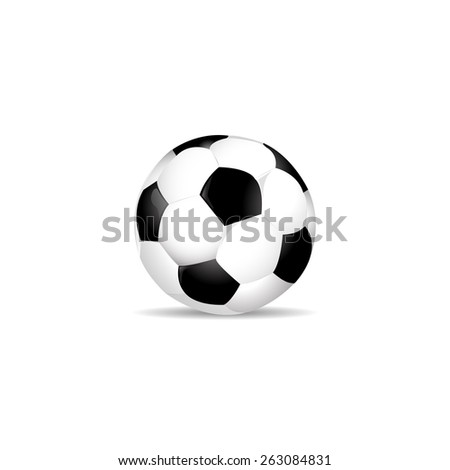 The ball is standing with a shadow on a pure white background vector - stock vector