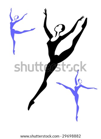 The ballerina dances the stylized figure. Vector