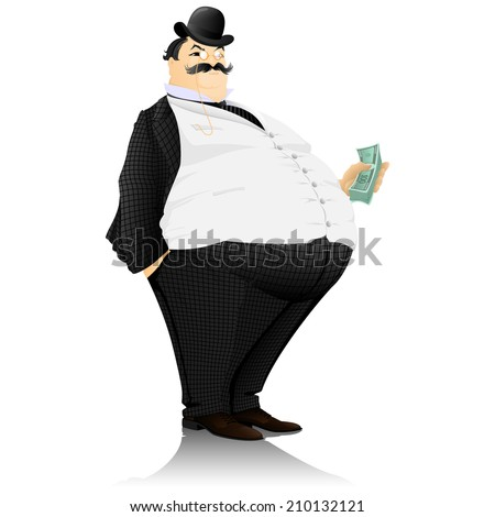 The banker, the rich man, with a roll of money - stock vector