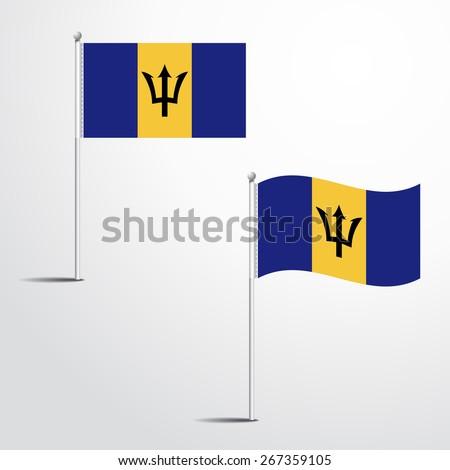 The Barbados flag normal and waving flag set   abstract flag vector eps 10  - stock vector