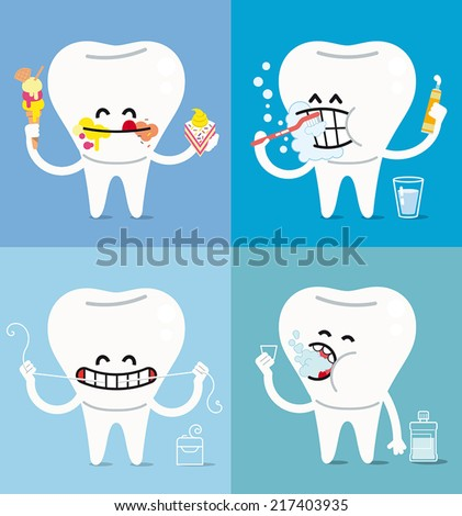 the basic rules for a healthy oral hygiene. - stock vector