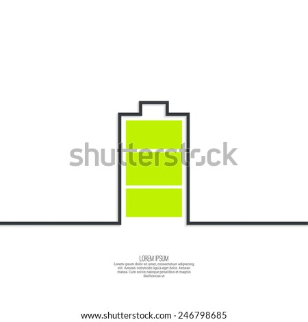 The battery icon with a full charge. minimal. Outline. - stock vector