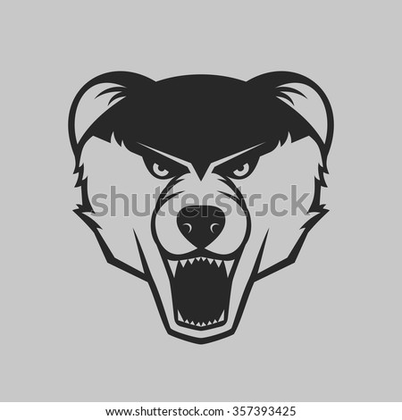The bear bares its teeth. Bear head logo or icon in one color. Vector illustration. - stock vector