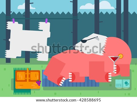 The bear is on the sunny lawn and sunning. He has made his warm fur and enjoying the summer. Lying on mats and drinking a cold cocktail, dressed in sunglasses. - stock vector