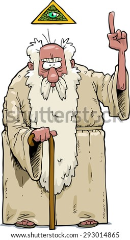 The bearded god on a white background vector illustration - stock vector