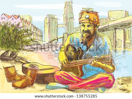 The bearded hippie man playing the guitar - sitting on the beach U.S. Gulf. /// A hand drawn illustration converted into vector (6 layers). - stock vector