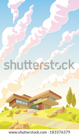 The beautiful contemporary house with a balconies, garage and a garden on a hill's top. There is a spacious copy space above the villa. Editable layered vector EPS v10.0. - stock vector