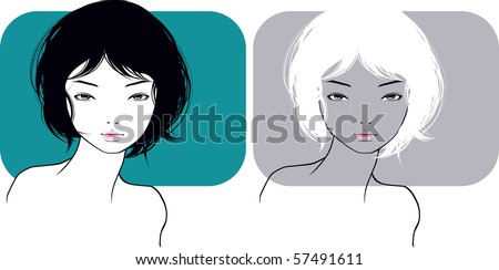 The beautiful girl with a short hairstyle - stock vector