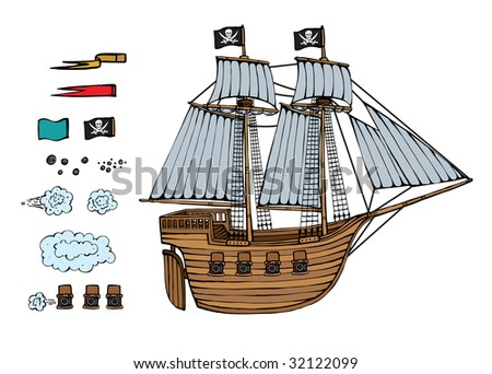 The beautiful piracy ship with interesting additions a vector illustration - stock vector