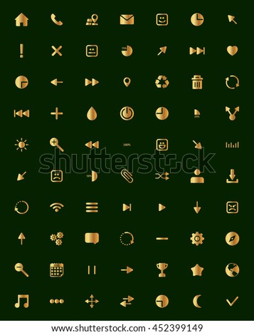 The best and most important gold icon set dark green background - stock vector