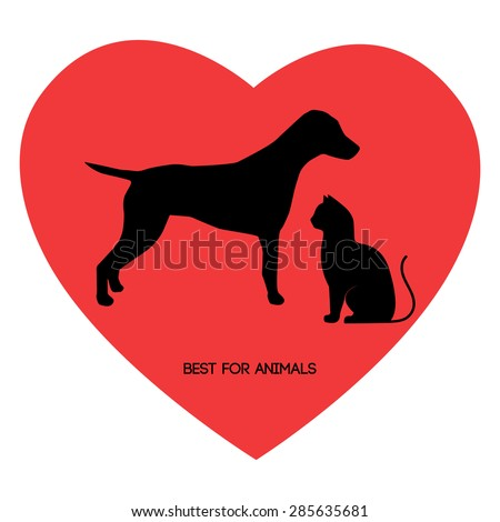 The best for the animals. Silhouette of a cat, dog. Heart. Veterinary Clinic. Pets shop - stock vector