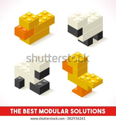 The Best Modular Solutions Isometric Basic Farm Animals Collection Sheep Duck Plastic Lego Toy Blocks and Tiles Set. HD Quality Colorful and Bright Vector Illustration or Webapps Web Module Brick - stock vector