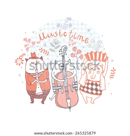 The best music band. Cartoon animals playing on various musical instruments - stock vector