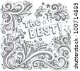 The Best Shooting Stars Hand-Drawn Sketchy Back to School Notebook Doodles with Starbursts, Swirls, and Stars- Vector Illustration Design Elements on Lined Sketchbook Paper Background - stock vector