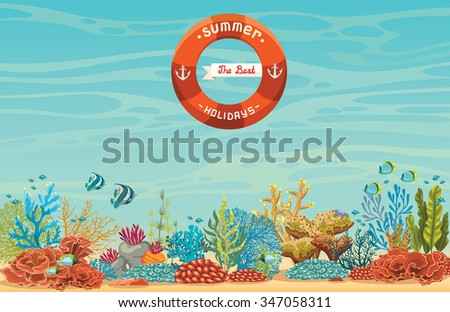 The best summer holiday. Tropical coral reef with fish on a blue sea background. Underwater vector illustration. - stock vector