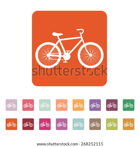 The bicycle icon. Bike symbol. Flat Vector illustration. Button Set - stock vector