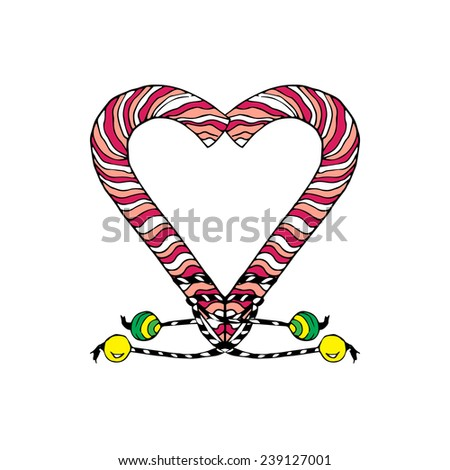 The big candy cane style heart, isolated on white background. Use to create your postcard and labels or to design your own printed T-shirts. - stock vector