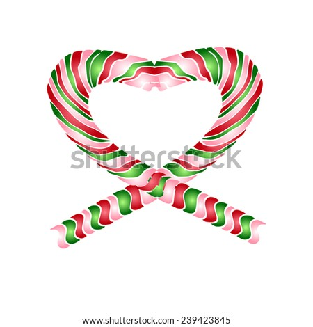 The big candy striped heart, isolated on white background. Use to create your postcard, banner and labels or to design your own printed T-shirts. - stock vector