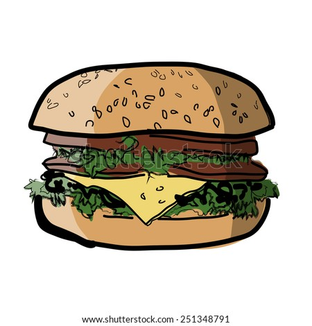 The big cheeseburger. High-calorie meal. Sandwich from fastfood. A sandwich with a stuffing. A burger with meat, with cheese and vegetables. Color image. - stock vector