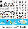 The big collection on sports theme. A vector illustration - stock vector