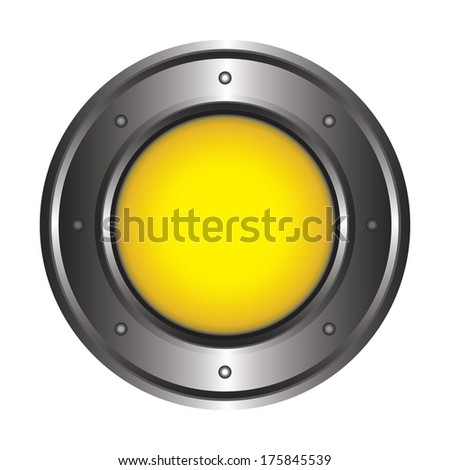 The big metal button on a white background