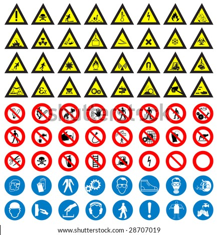 The big safety and work sign collection vector - stock vector