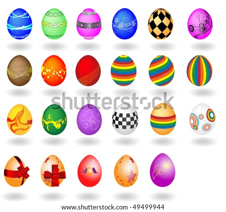 The big set of Easter eggs on a white background. A vector illustration - stock vector