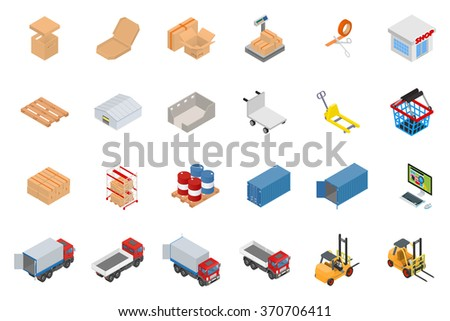 The big set of isometric objects on the topic of warehouse and logistics - stock vector
