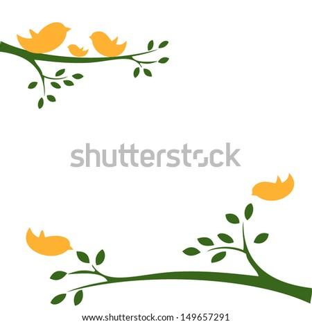 the bird family, yellow birds in a tree - stock vector