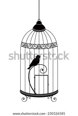 The bird in the cage. Vector silhouette isolated on white background. - stock vector