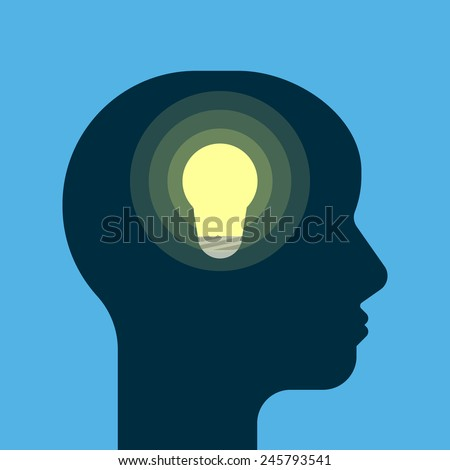 The birth of a new idea. Light bulb - metaphor for creativity. Human head silhouette. Flat style vector illustration - stock vector