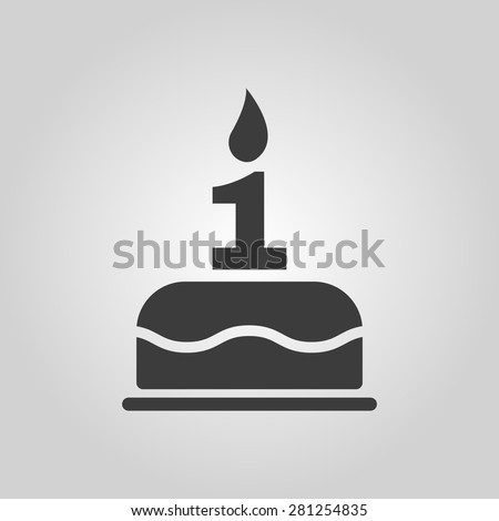 The birthday cake with candles in the form of number 1 icon. Birthday symbol. Flat Vector illustration - stock vector