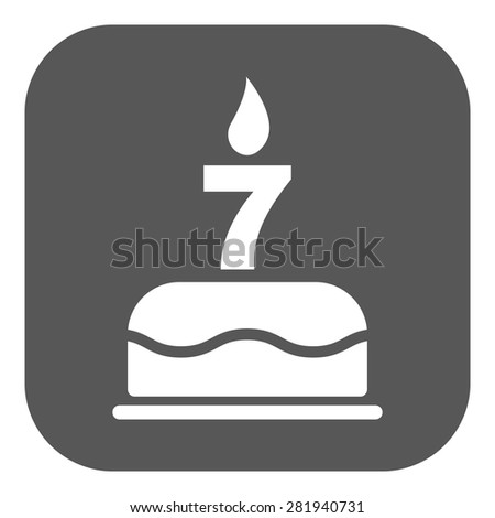 The birthday cake with candles in the form of number 7 icon. Birthday symbol. Flat Vector illustration. Button - stock vector