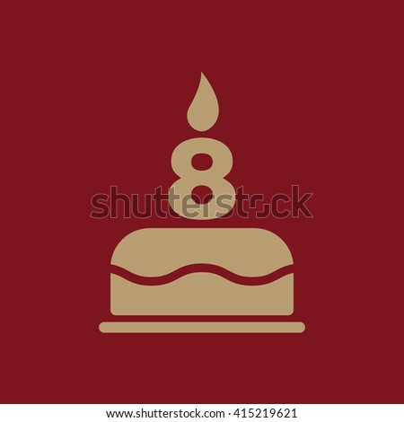 The birthday cake with candles in the form of number 8 icon. Birthday symbol. Flat Vector illustration. - stock vector