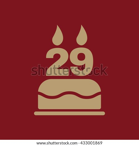 The birthday cake with candles in the form of number 29 icon. Birthday symbol. Flat Vector illustration - stock vector