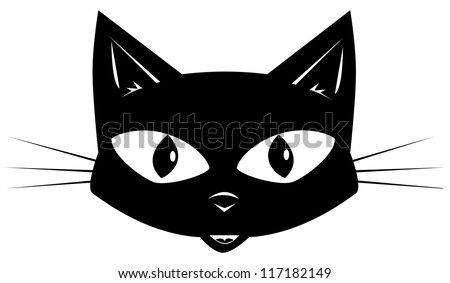 The black cat. Face of a black cat for a sticker or a mask - stock vector