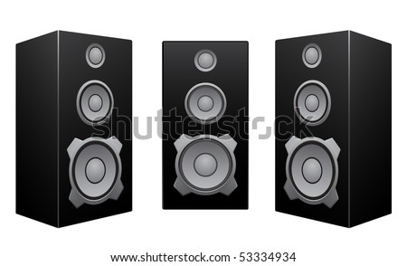 The black 3d speakers isolated on the white background - stock vector