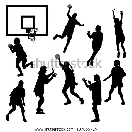 The black female silhouettes playing basketball